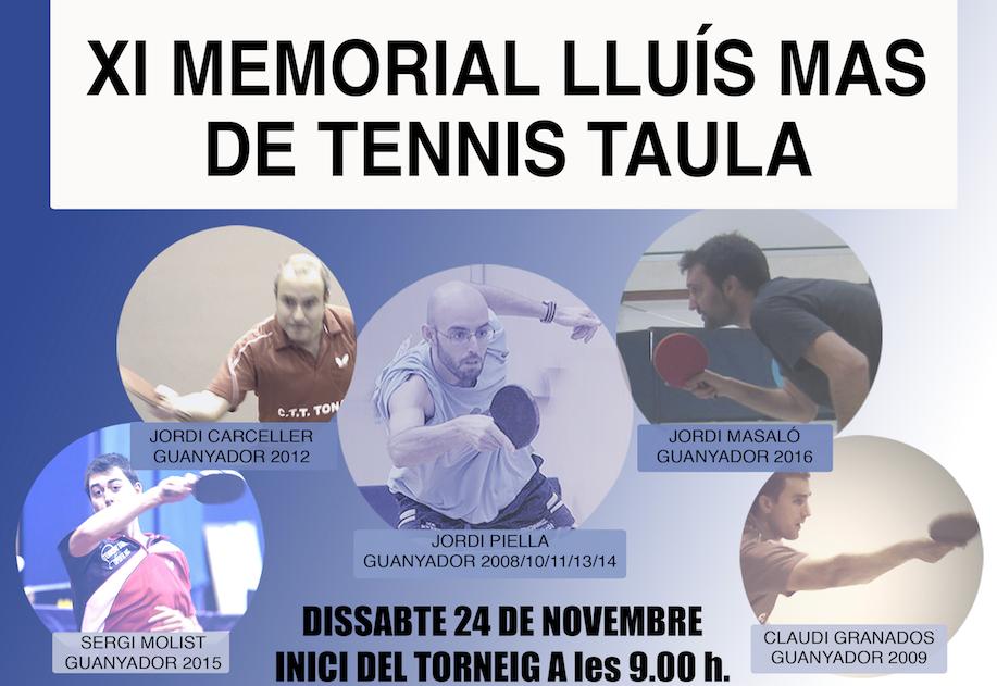 XI MEMORIAL LLUÍS MAS DE TENNIS TAULA